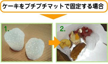 ケーキをプチプチマットで固定する場合